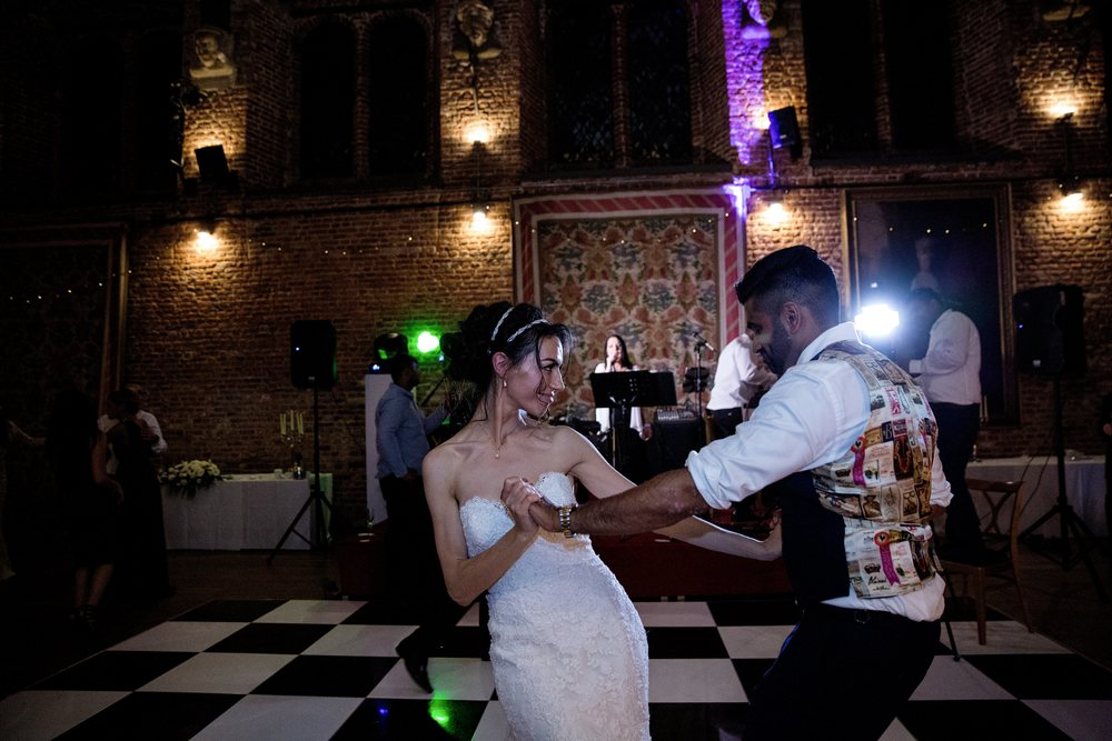London wedding reception at Hatfield House Sophie Anwar photography August weddings first couple dancing Pinner northwood pinner