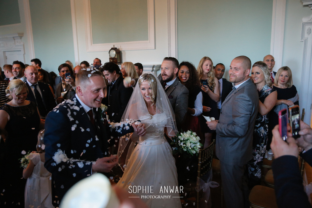 Botley Mansin Manor Surrey London clivil ceremony Pinner Ruislip Northwood Moor Park Luxury wedding ceremony  confetti shot