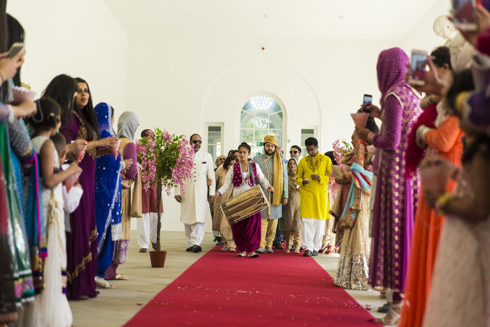 Sana and Khurram Welsh wedding civil ceremony Margam Country park Port Talbot arival of the bharaat at the wedding