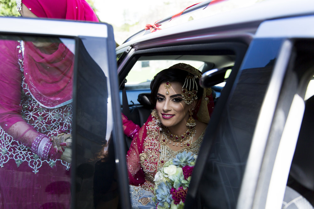 Sana and Khurram Welsh wedding civil ceremony Margam Country park Port Talbot arrival of the bride
