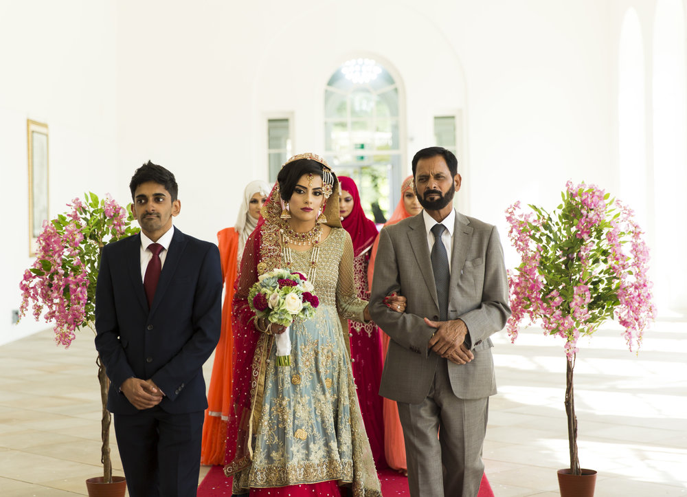 Sana and Khurram Welsh wedding civil ceremony Margam Country park Port Talbot father of the bride with his daughter