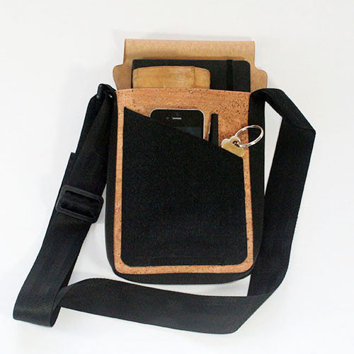 Bag fits wallet, keys, phone and sketchbook or iPad mini.
