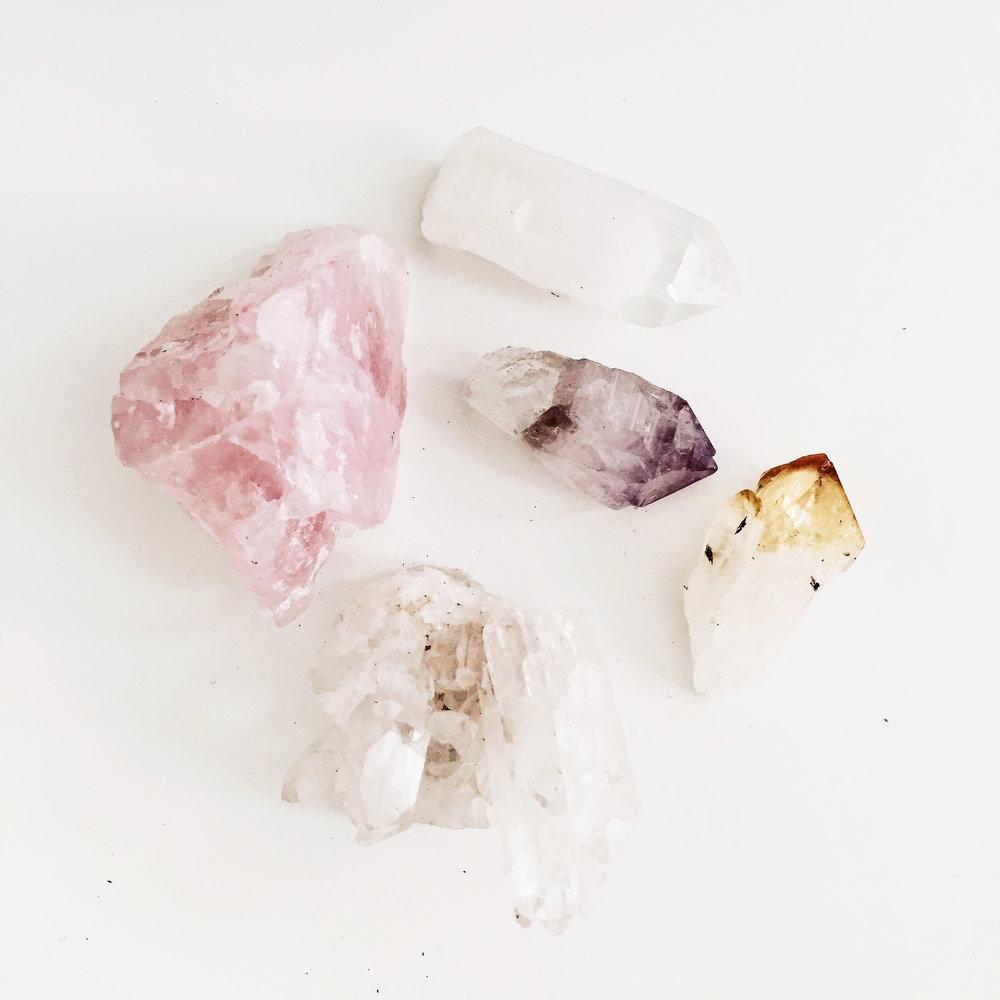 Rose Quartz, Clear Quartz, Amethyst, Citrine. Crystal Love.