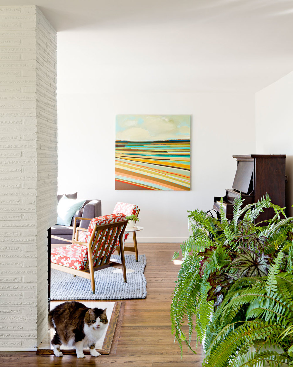 Living room from dining room, painting by Kelly Neidig