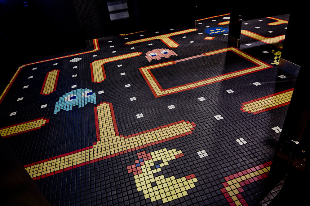 Women's restroom with MS. Pac-Man floor tile