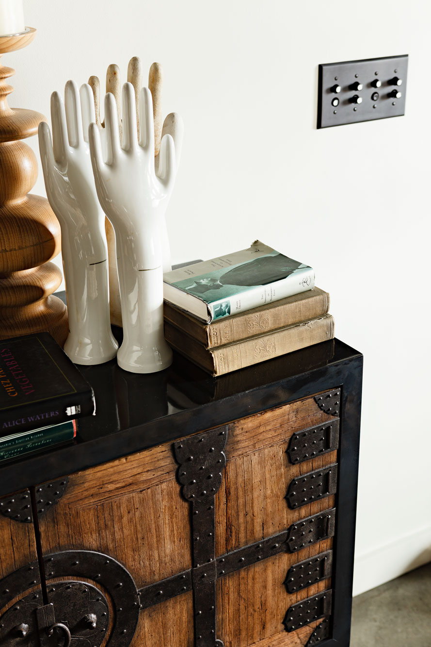 Detail of custom console table