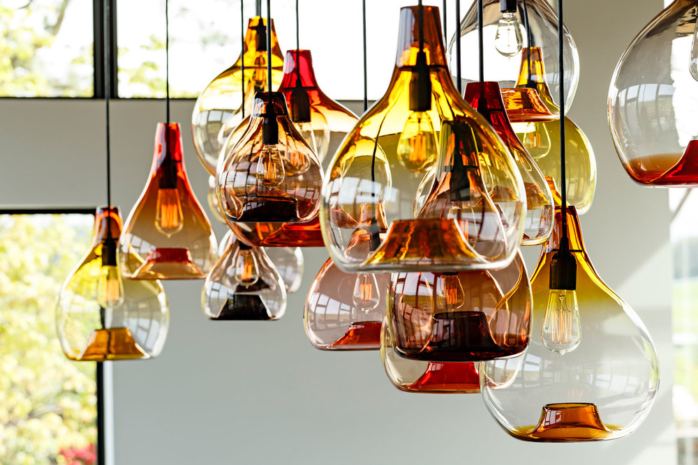 Detail of glass pendant lights