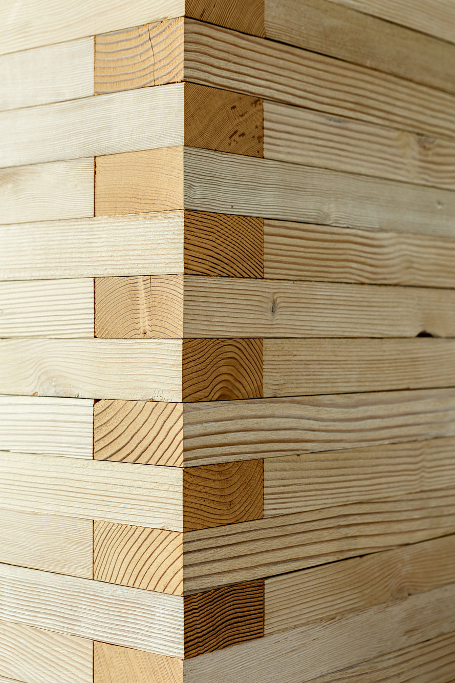 Detail of wood wall corner