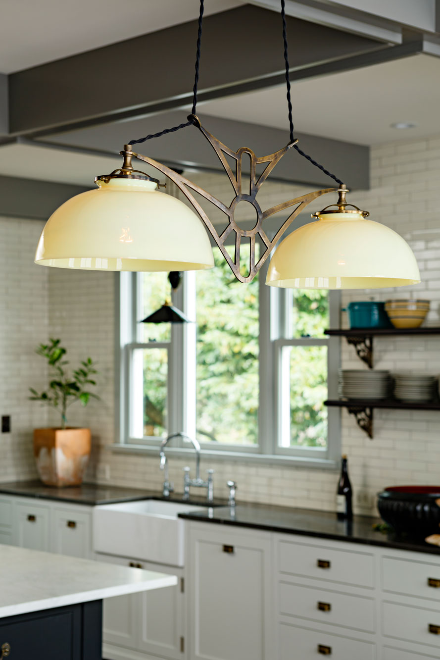 Antique light fixture with vaseline glass shades