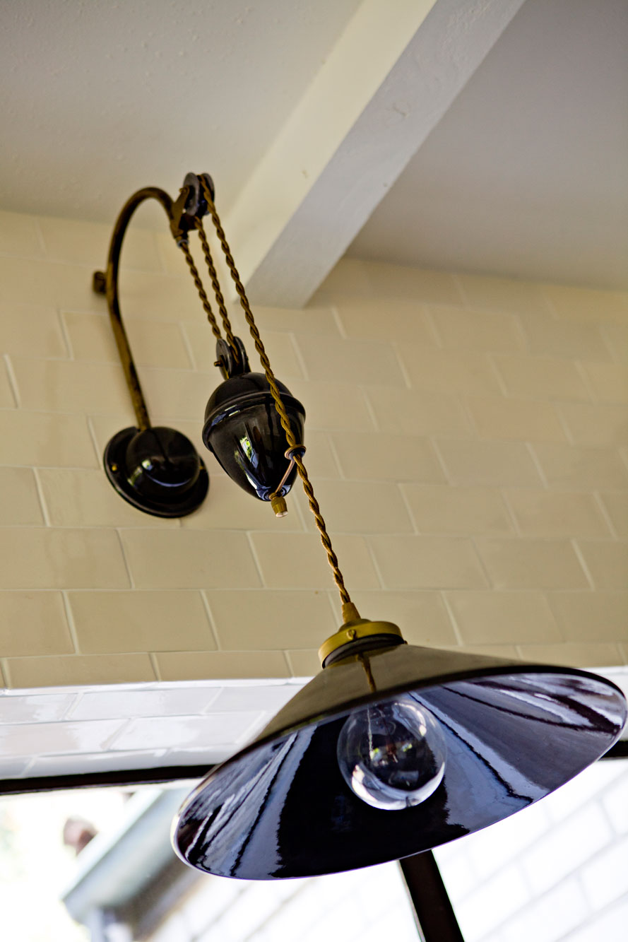 Kitchen detail: hand-made ceramic pendant light