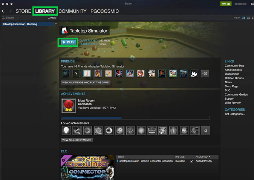 1. Open the Steam app on your computer and select LIBRARY from the top menu, then select >PLAY to launch Tabletop Simulator