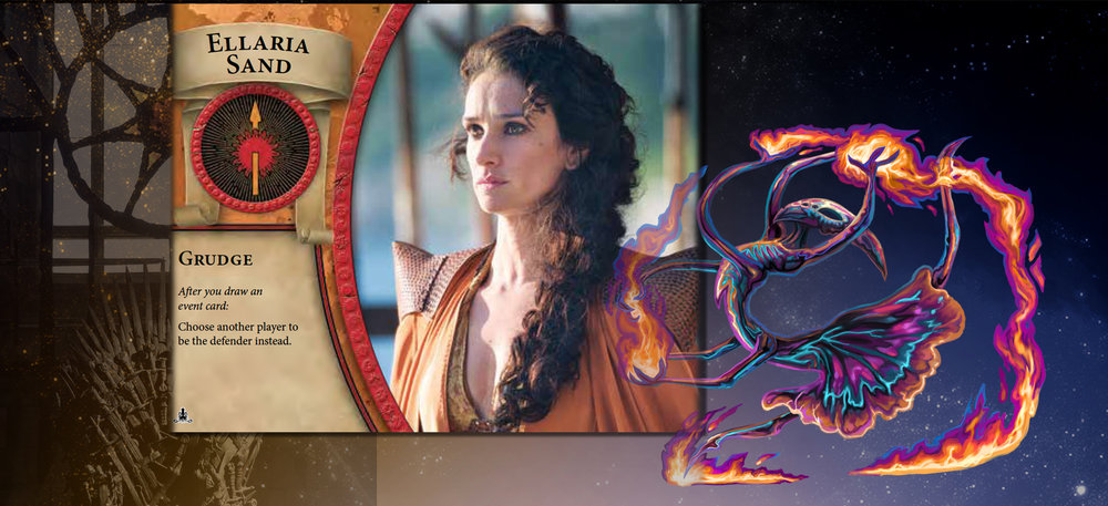 "Elaria Sand and Fire Dancer are as one when offering ""fire and blood"" to an ally."