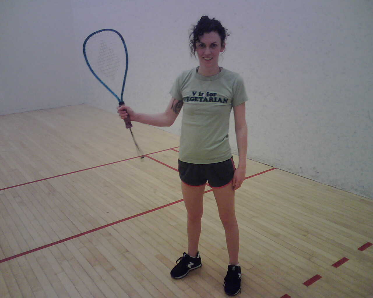 she suffered a devastating defeat in the racketball room