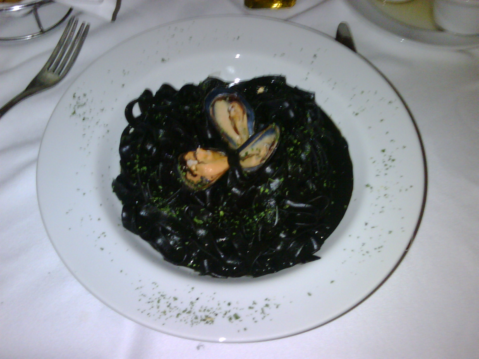 i realized just how rusty my spanish was when i ordered squid ink fettucini accidentally. this was easily the lamest thing i have ever ordered.