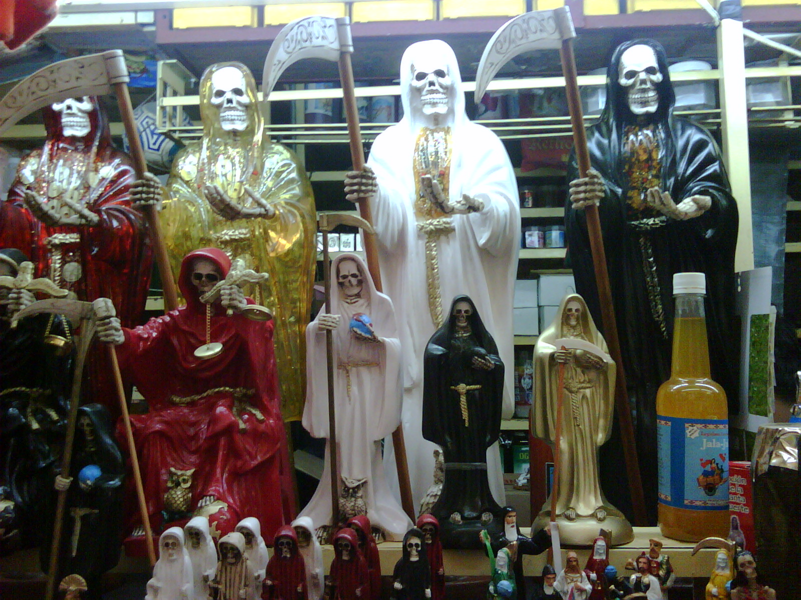 this is santa muerte the saint of death worshipped by criminals. more on him later.
