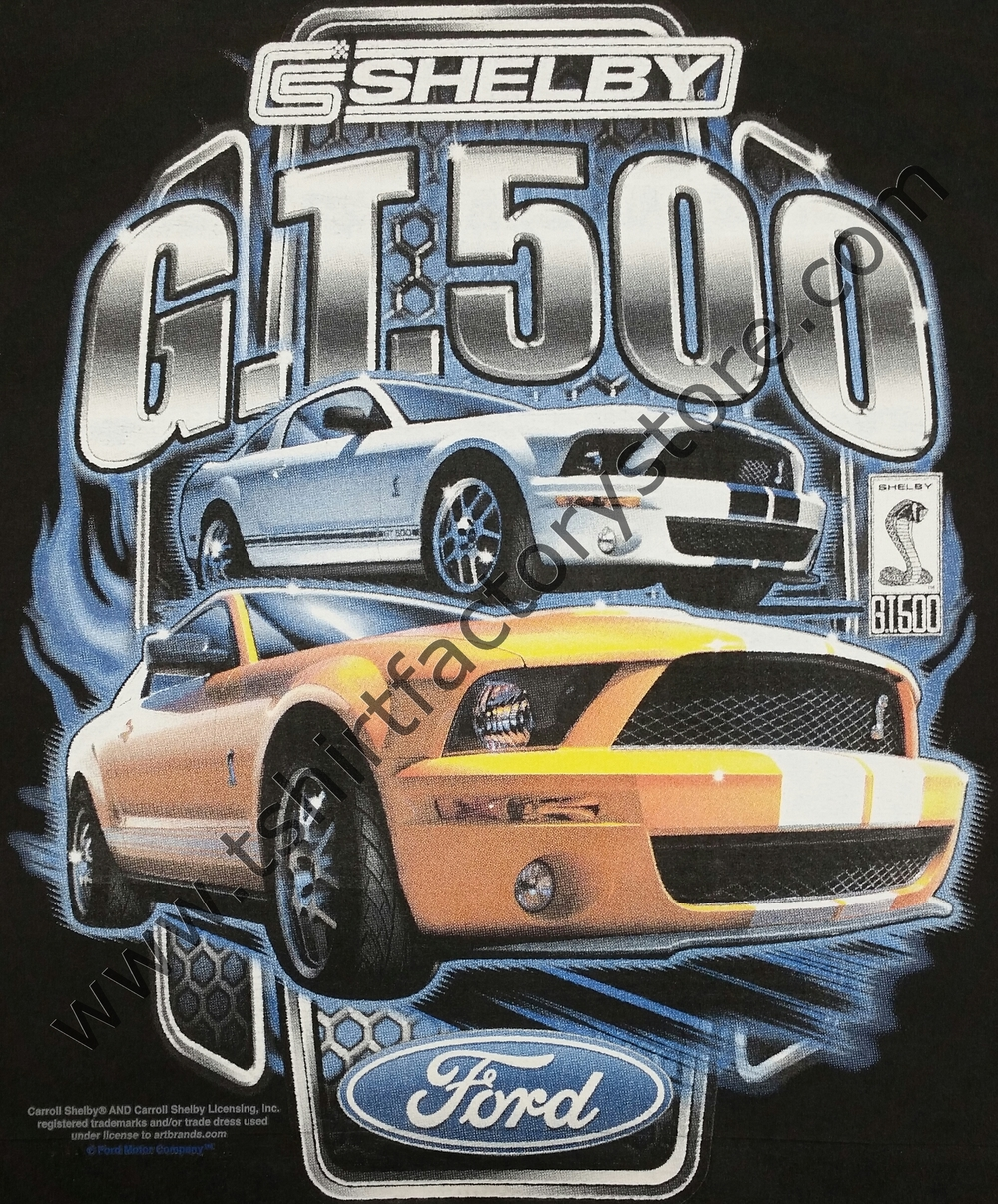 Ford mustang shelby gt500 yellow white t shirt factory shop printed t shirts sweatshirts and hoodies