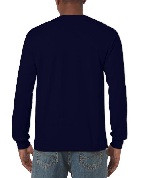 Navy Blue Custom Printed Adult Long Sleeve T-Shirt Gildan 5400 Back T-Shirt 91c3d6957d7