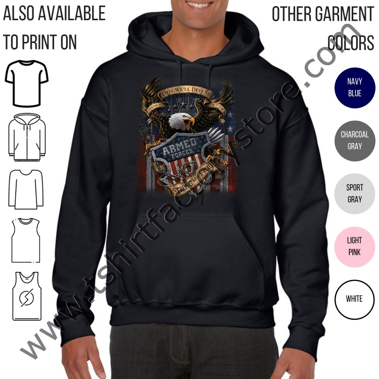 best sneakers 33fbe fcea3 American Armed Forces Strong and Free This We'll Defend (Eagle) — T-Shirt  Factory: Shop Printed T-Shirts, Sweatshirts and Hoodies