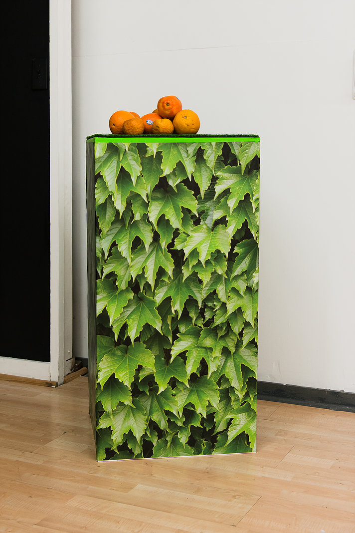 Untitled Astro turf, digital print, wood panel, oranges 36 x 18.5 x 18.5 inches 2017