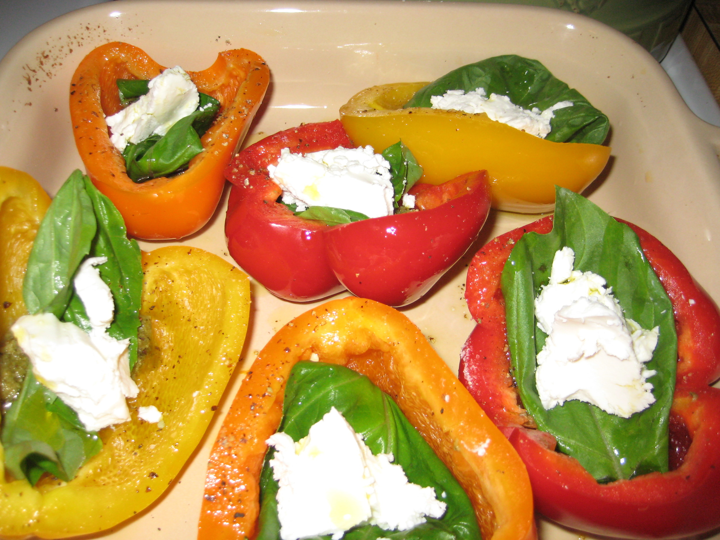 roasted goat cheese and pesto peppers