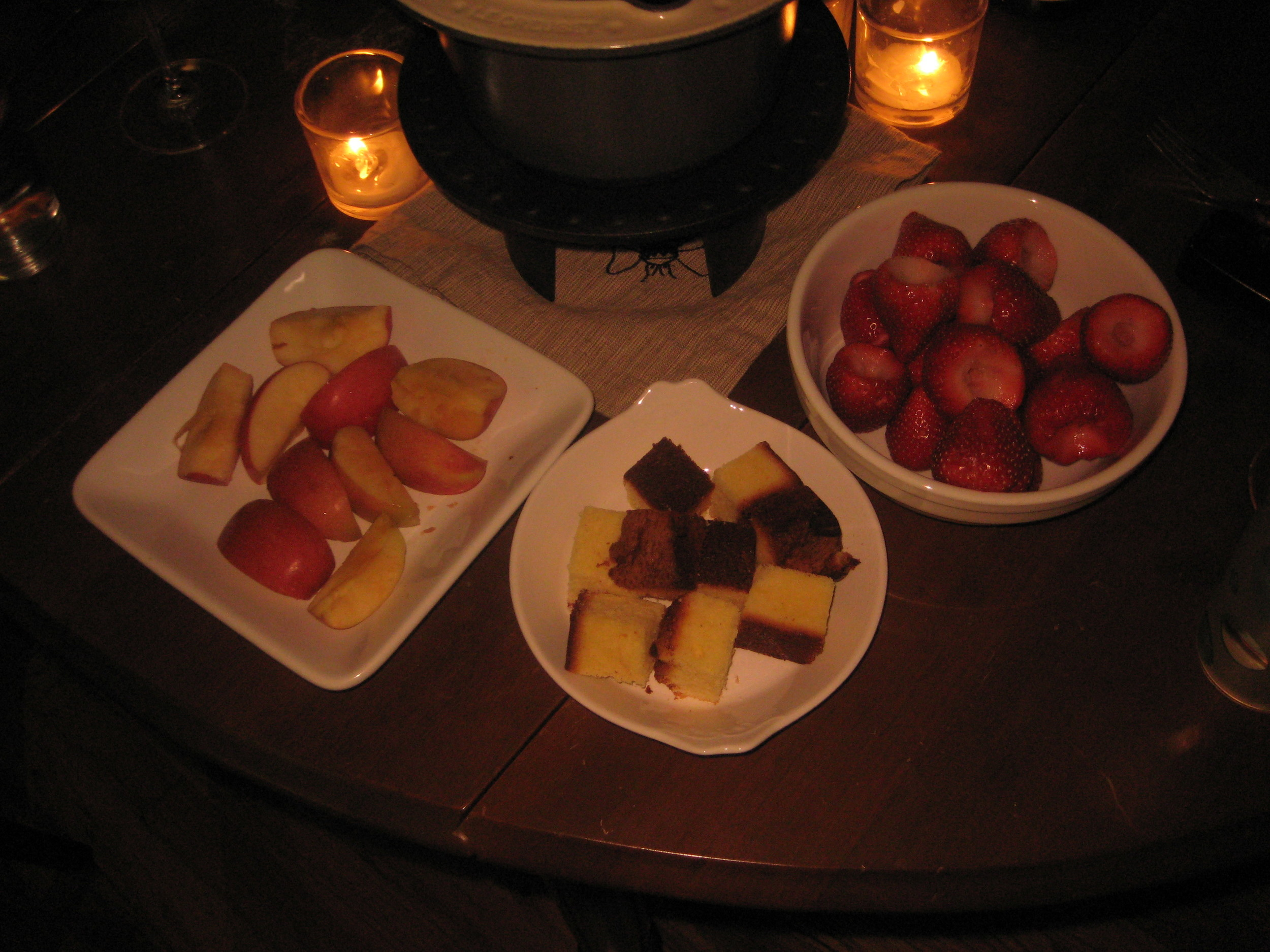chocolate fondue by candlelight