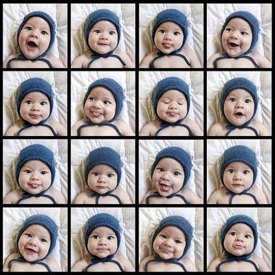 16 faces of a 6-month old from a cup of jo