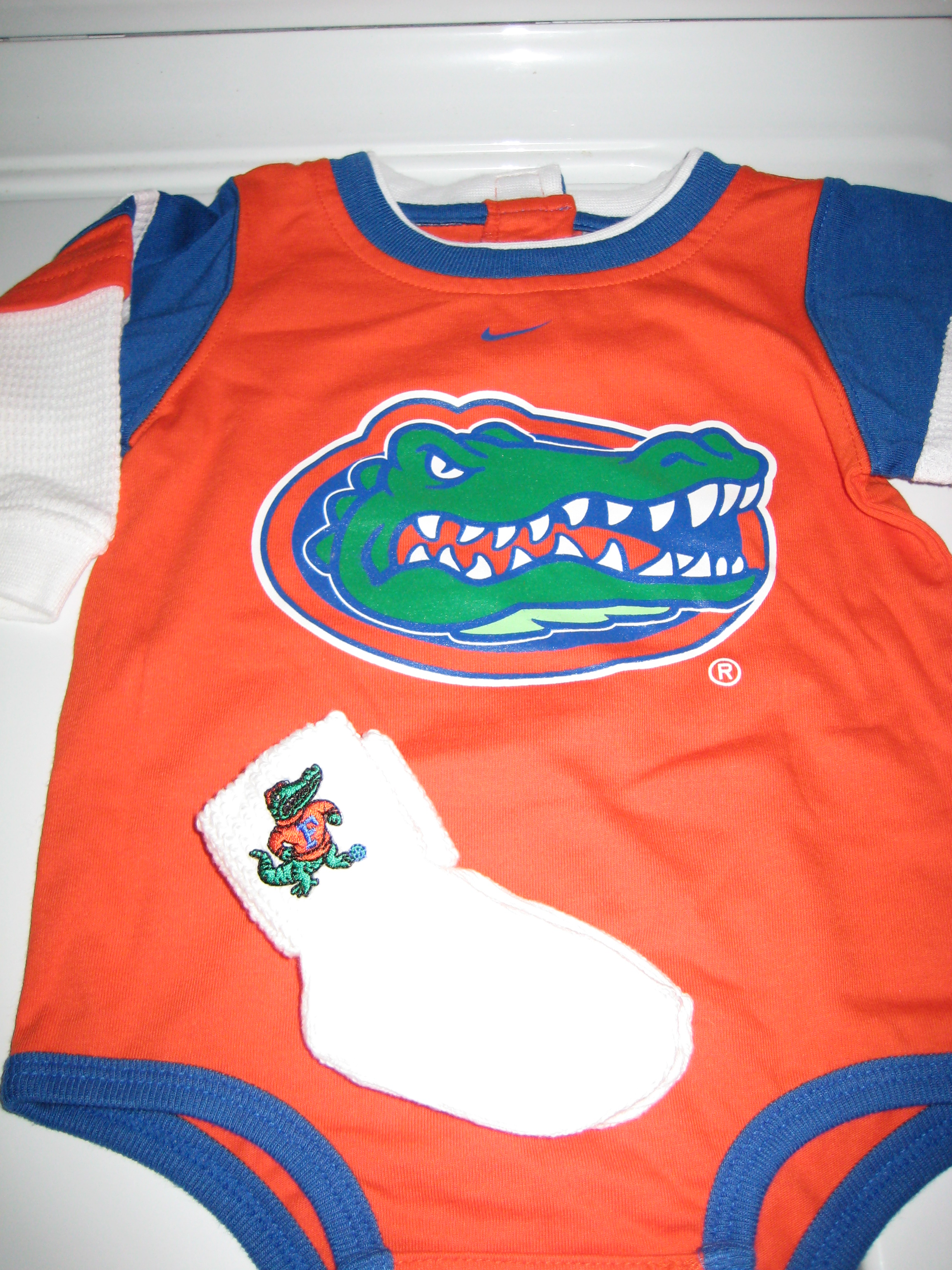 gator onesie and socks