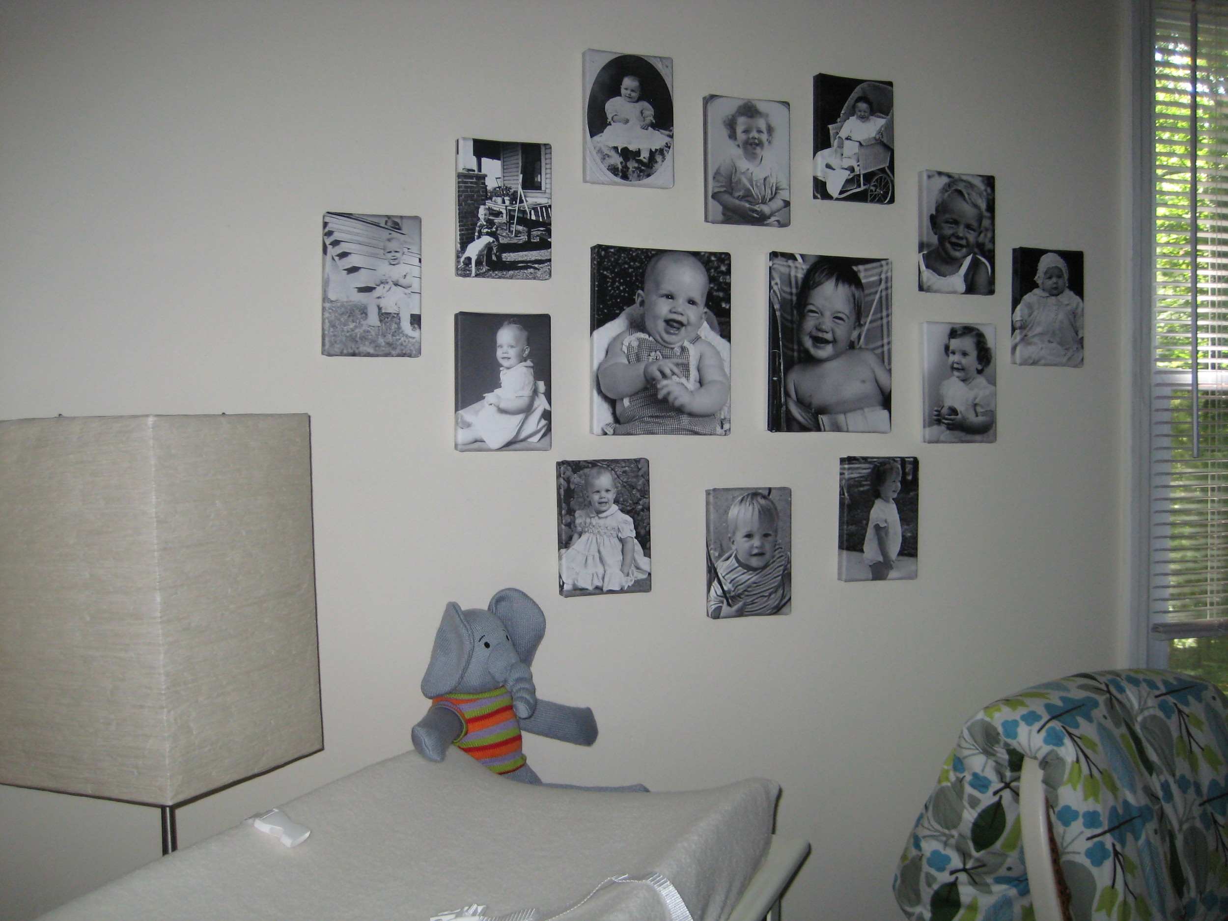 family baby photo wall