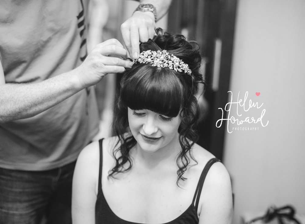 Black and white image of bridal preparations