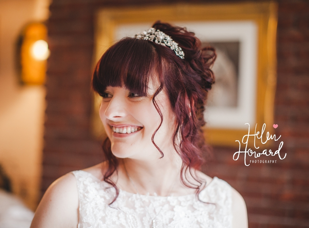 Portrait of a bride on the morning of her wedding in Staffordshire