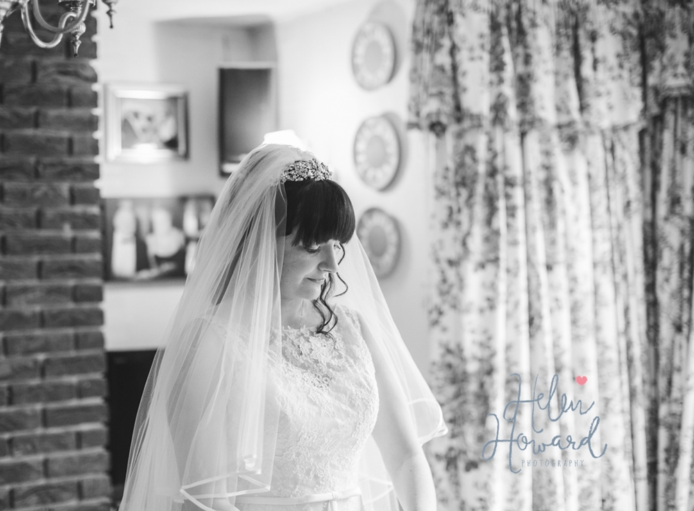 Black and white portrait of a bride on the morning of her wedding in Staffordshire