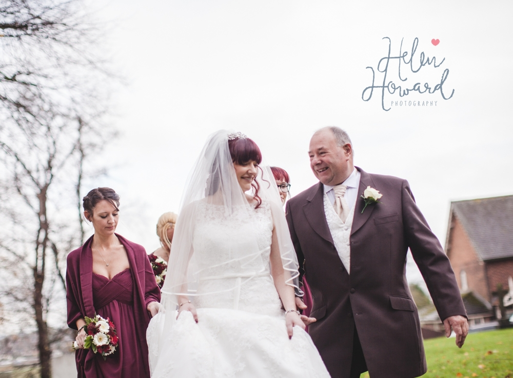 A bride and her proud dad weddings in staffordshire