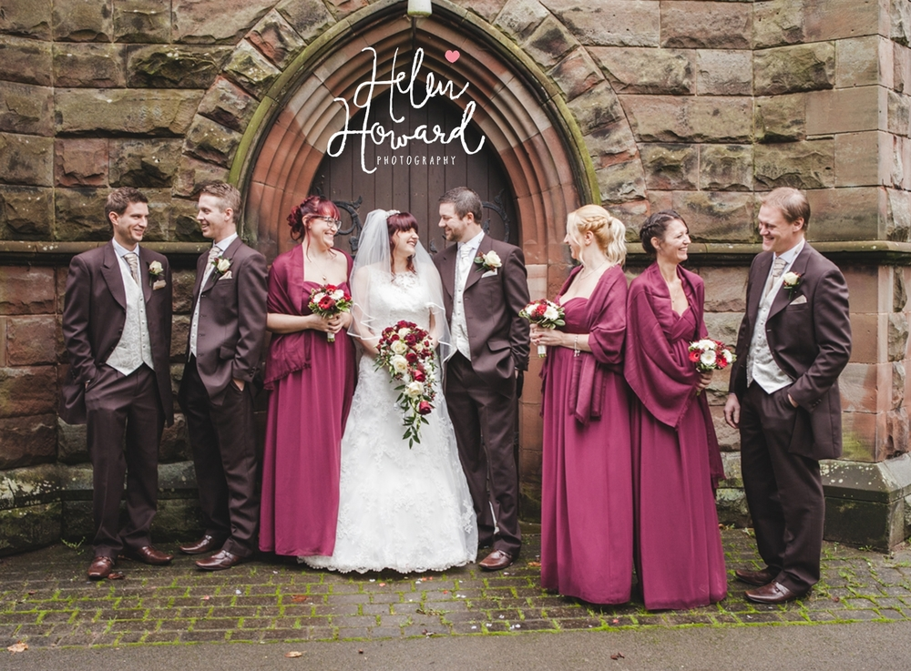 Bride and Groom with their bridesmaids and groomsmen outside a staffordshire church