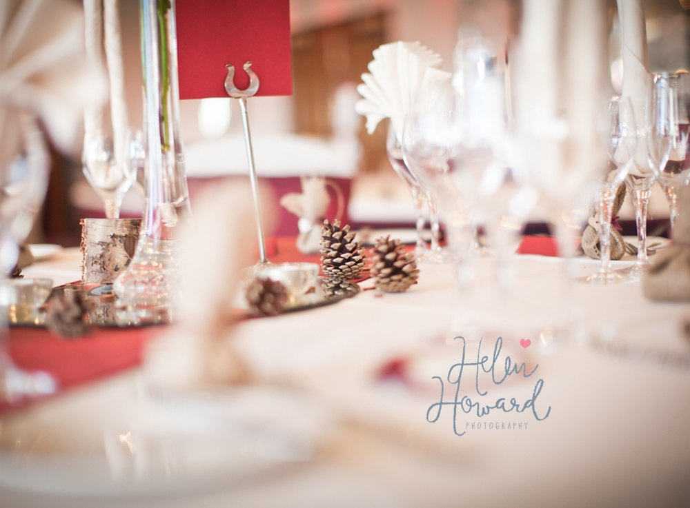 Pine cone Table decorations staffordshire wedding photography
