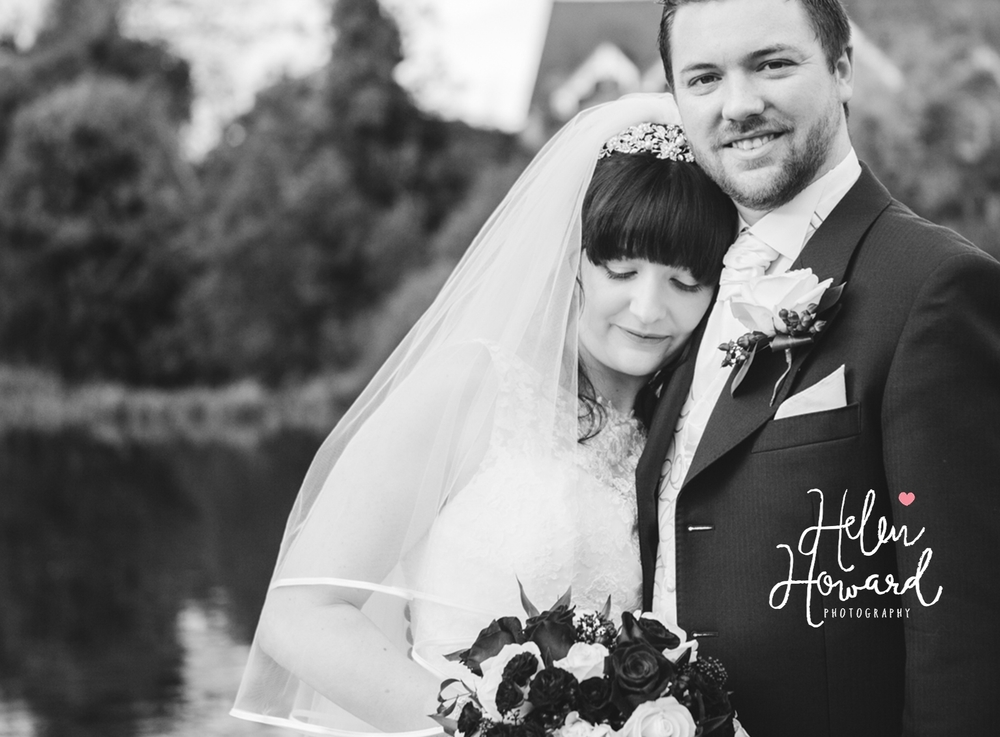 Black and White Portrait of a bride and groom by Helen Howard Photography weddings in Staffordshire