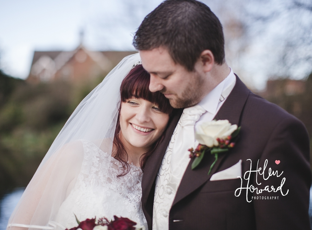 Portait of a bride and groom at The Moathouse in Staffordshire
