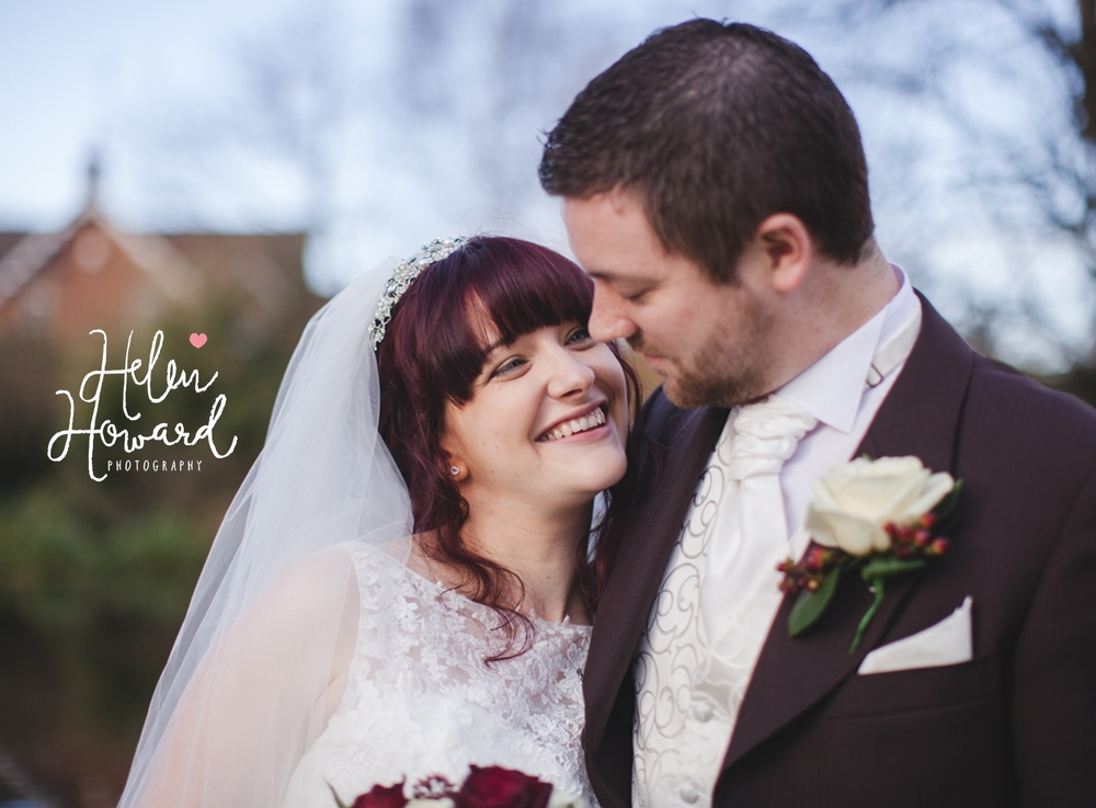 Beautiful bride smiling at her husband weddings in Staffordshire