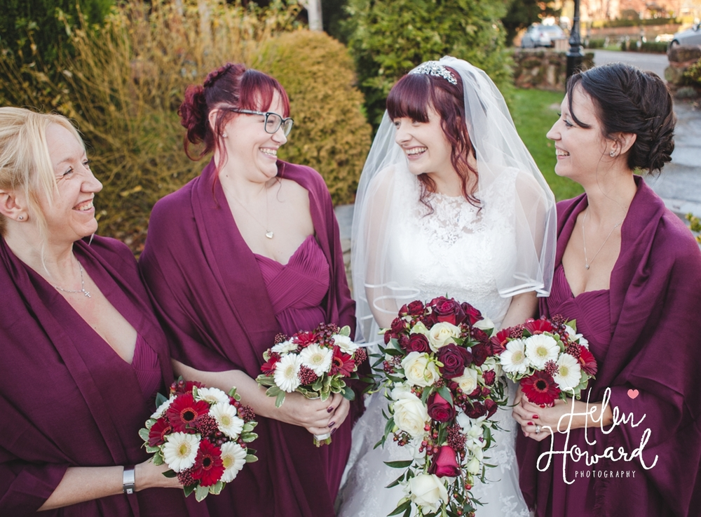 Bride and her Bridesmaids at The Moathouse Acton Trussell Wedding