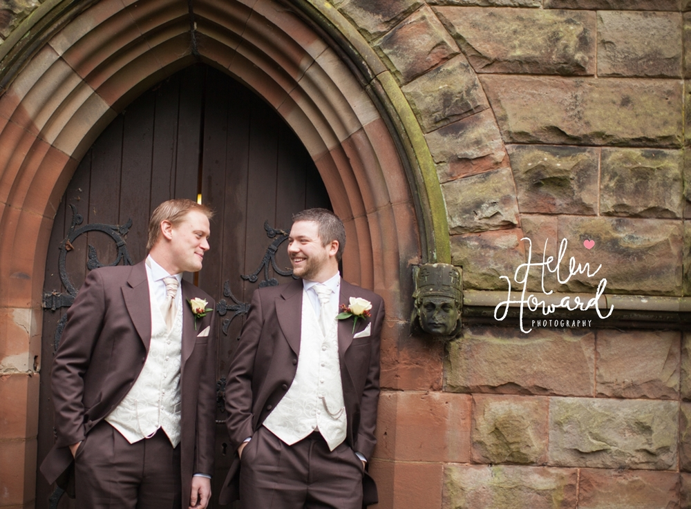 Groom and his best man outside the church in Staffordshire