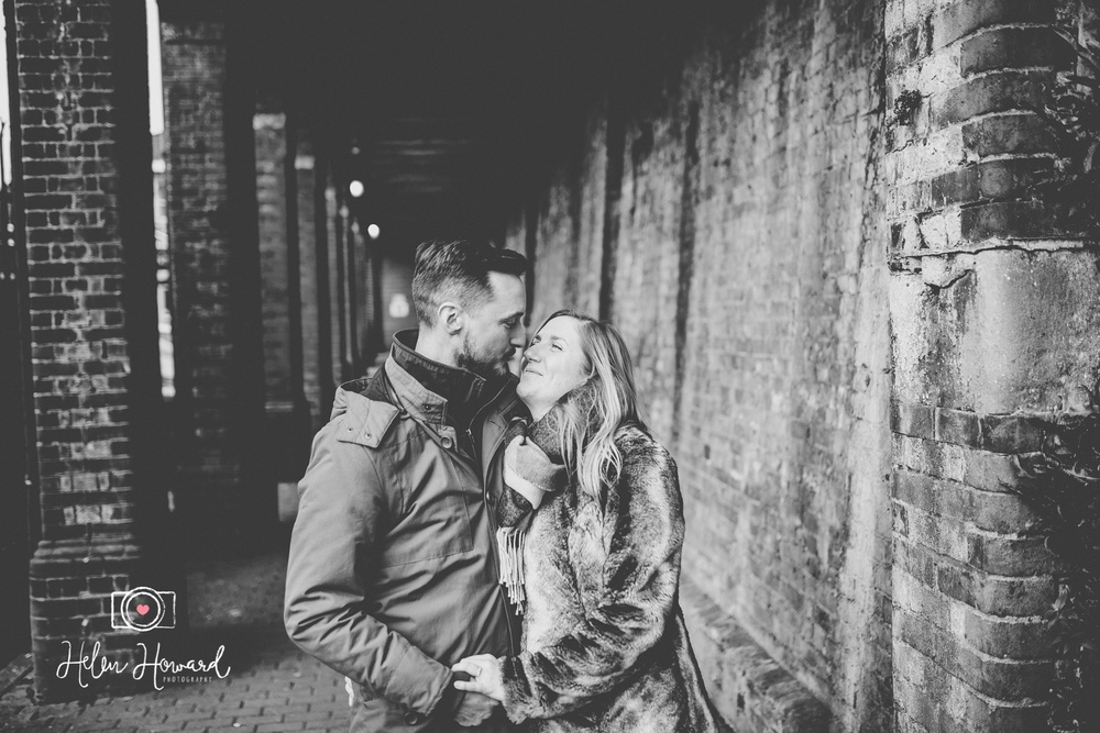 Black and White image of a couple's engagement shoot by Berkhamsted Train Station