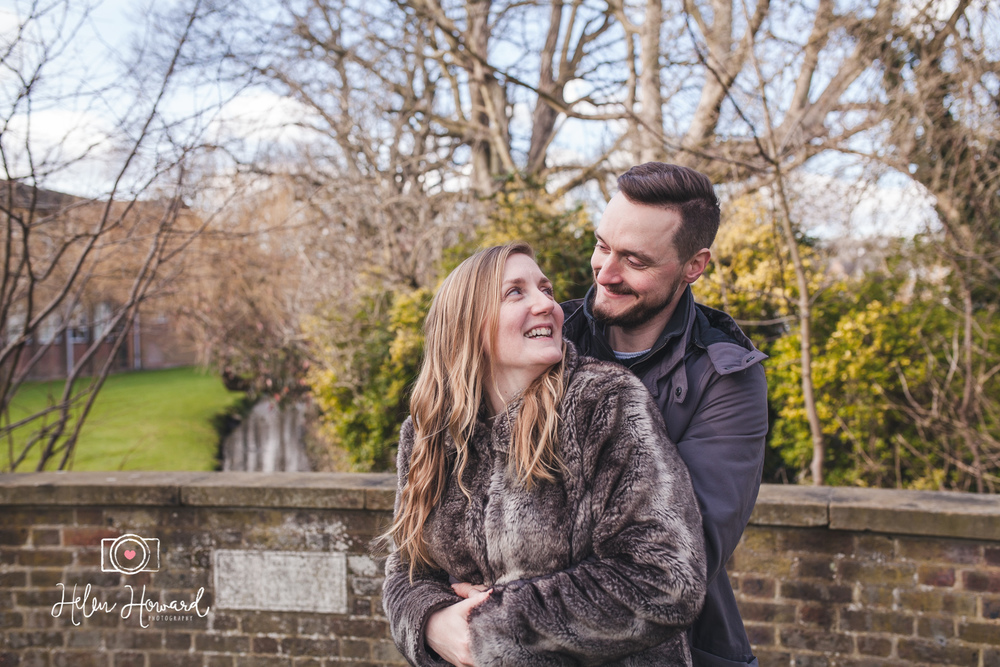 Couple laughing during engagement shoot in Berkhamsted by Helen Howard Photography