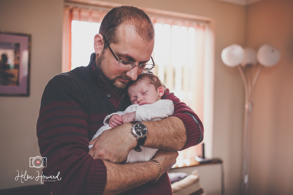 Father and Son sleepy newborn photography