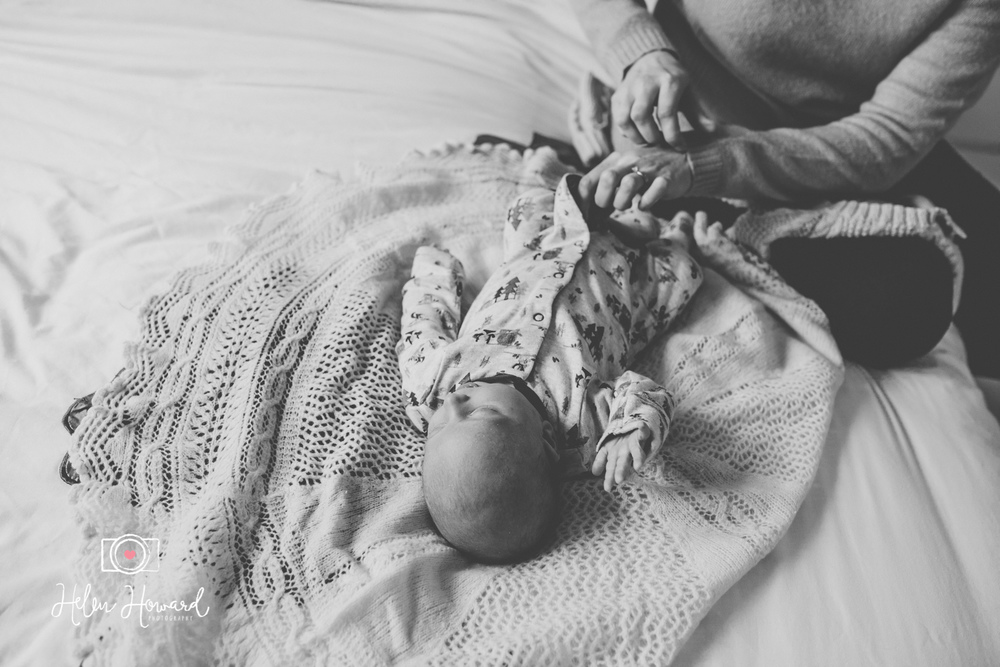 Newborn baby black and white image