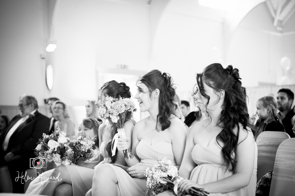 Bridesmaids in black and white wedding photography in Tring