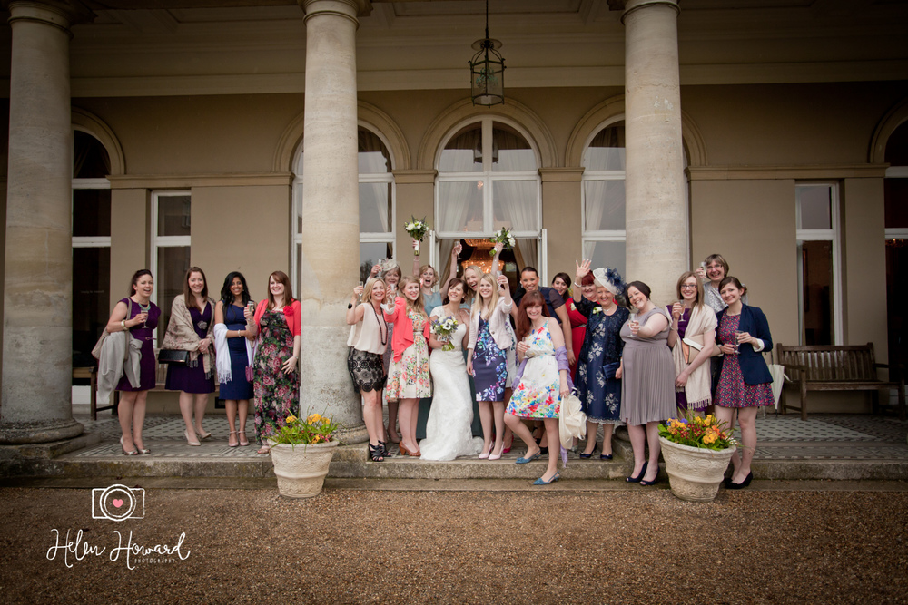 All the hens in a wedding photo at Down Hall Hotel