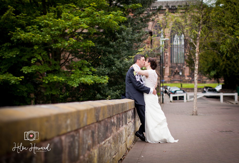 Bride and Groom by Minster Pool in Lichfield wedding photography Lichfield Cathedral