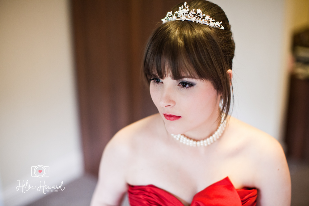 Jess the bride in her beautiful red dress wedding photography at The Quorn Grange Hotel
