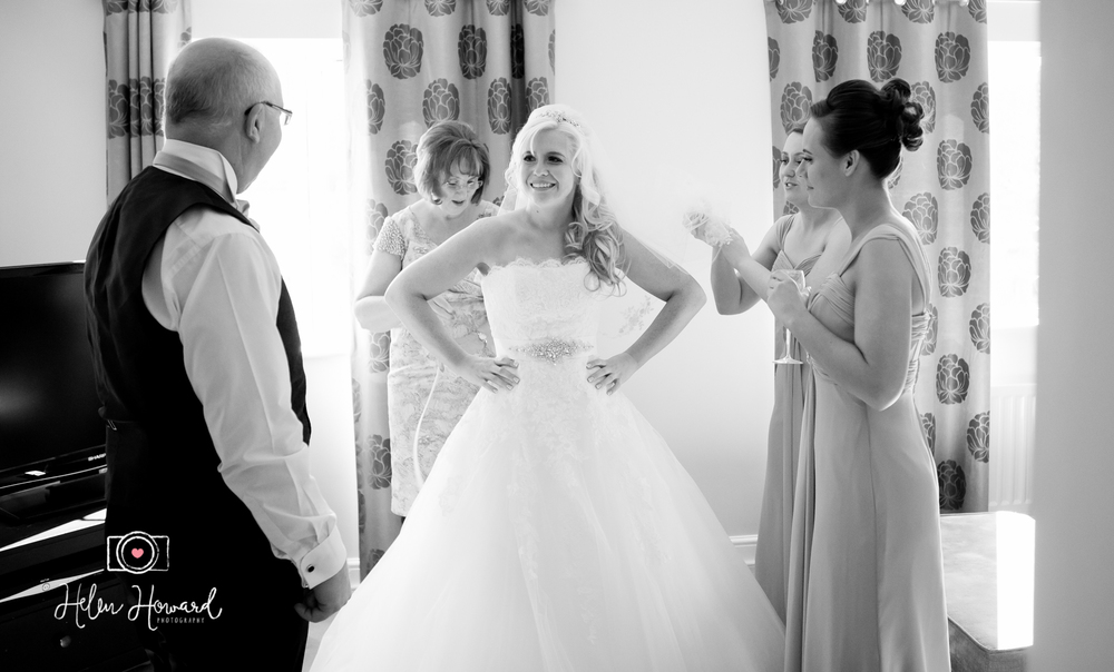 Bride seeing her dad on her wedding day wedding photography in Lichfield