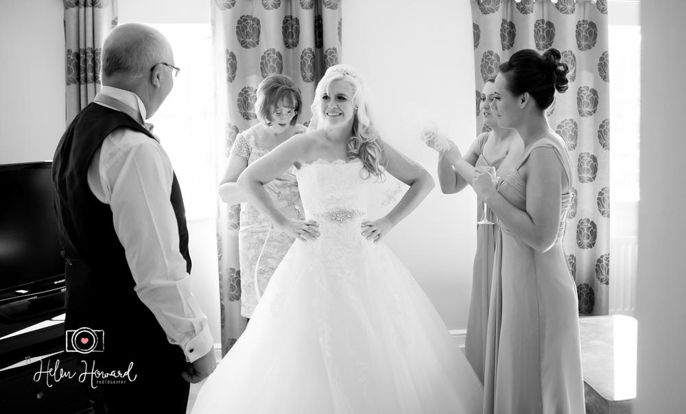 Bride seeing her dad on her wedding day wedding photography in Lichfield