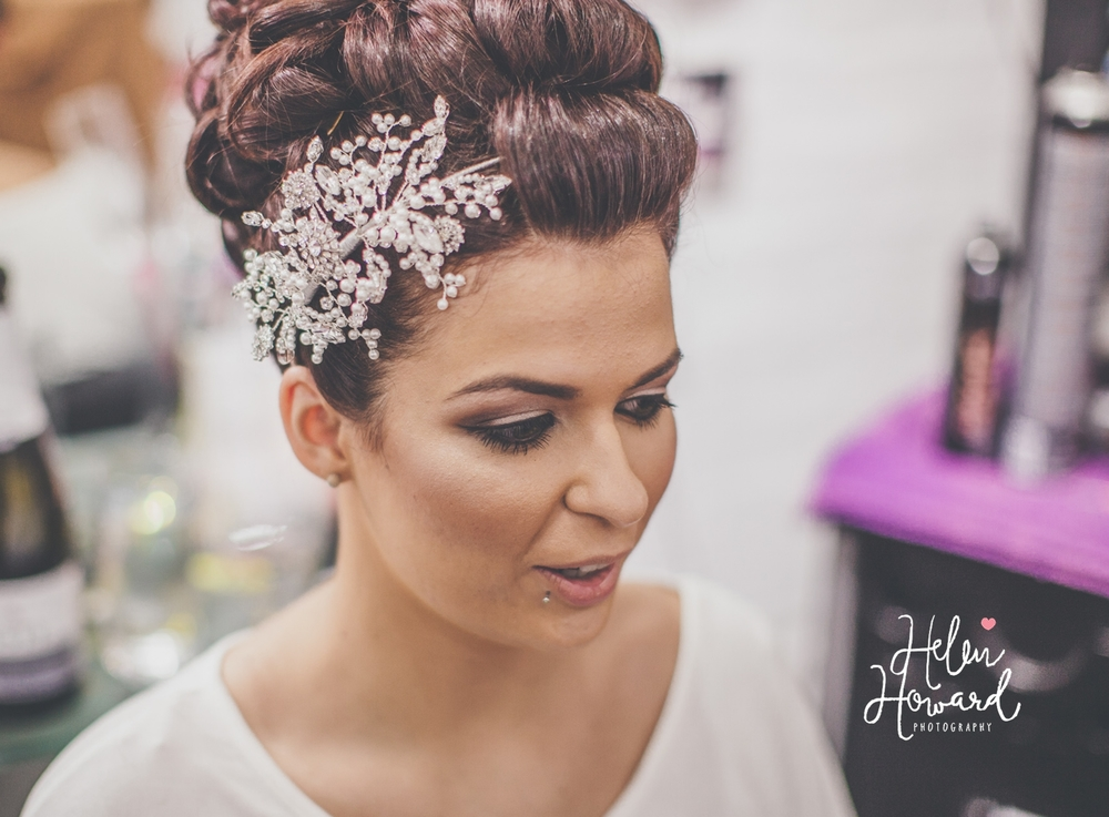 Beautiful brunette bride with an up do